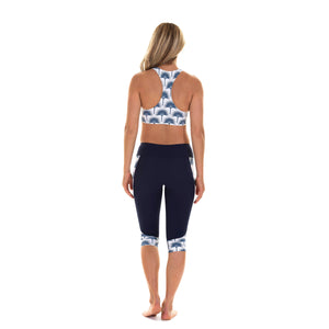 Contour panel cropped leggings back : FAN PALM NAVY worn with matching cropped top Designer Lotty B Mustique
