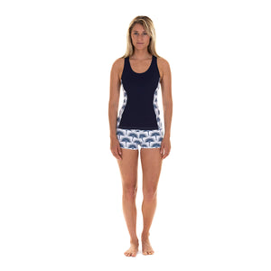 Sports Shorts worn with matching racer back top : FAN PALM NAVY designed by Lotty B for Pink House Mustique