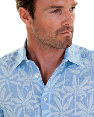 Mens Linen Shirt : BANANA TREE - BLUE designer Lotty B Mustique summer style
