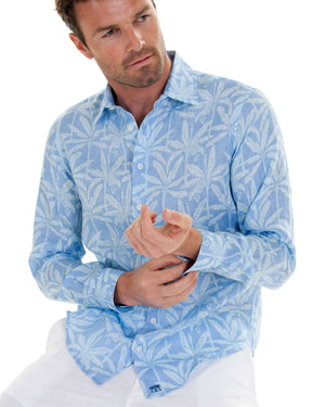 Mens Linen Shirt : BANANA TREE - BLUE designer Lotty B Mustique holiday style