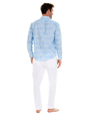Mens Linen Shirt : BANANA TREE - BLUE designer Lotty B Mustique vacation style