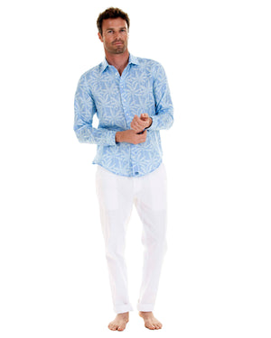 Mens Linen Shirt : BANANA TREE - BLUE designer Lotty B Mustique resort wear