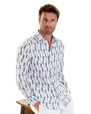 Mens Linen Shirt: GECKO - NAVY designer Lotty B for Pink House Mustique