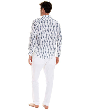 Mens Linen Shirt: GECKO - NAVY with white linen trousers designer Lotty B for Pink House Mustique