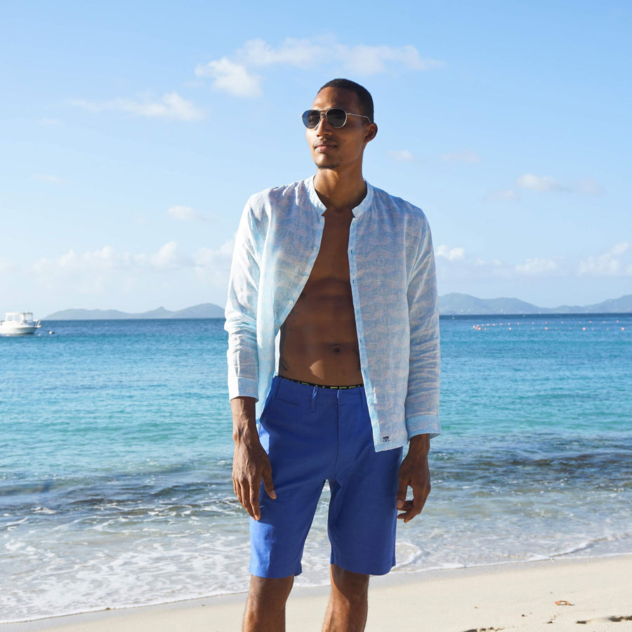 Mens Linen Shorts: DAZZLING BLUE