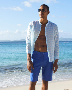 Mens Collarless Linen Shirt Guava pale blue designed by Lotty B Mustique beautiful beach fashion