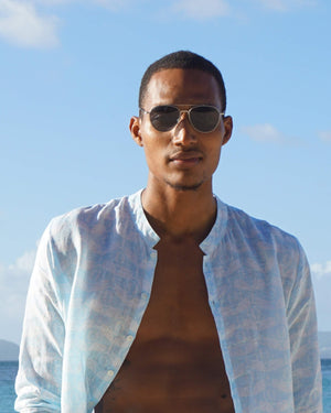 Mens Collarless Linen Shirt Guava pale blue designed by Lotty B Mustique summer island style