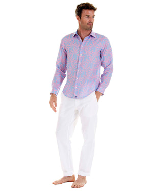 Mens Linen Shirt : BANANA TREE - PINK designer Lotty B for Pink House Mustique