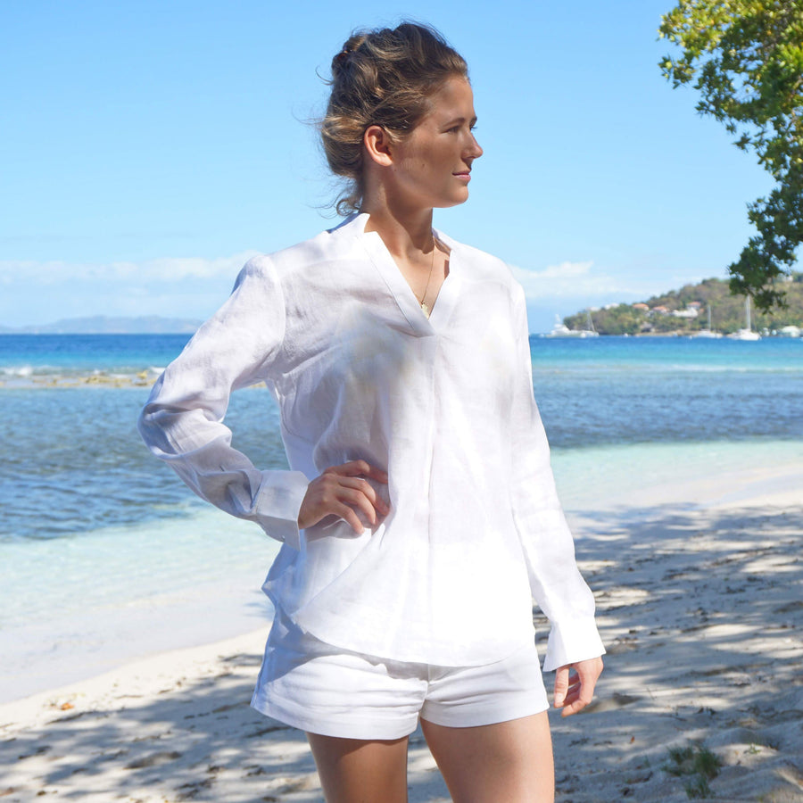 Womens Linen Shorts : CLASSIC WHITE worn with silk crepe-de-chine fan palm blouse designer Lotty B Mustique