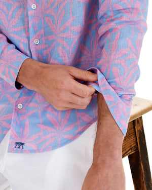 Mens Linen Shirt : BANANA TREE - PINK designer Lotty B Mustique holiday style