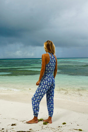 Lotty B Jumpsuit in Silk Crepe-de-Chine: PINEAPPLE - BLUE side Mustique