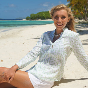 Womens Linen Blouse: FLAMBOYANT - GREEN designer Lotty B Mustique summer style