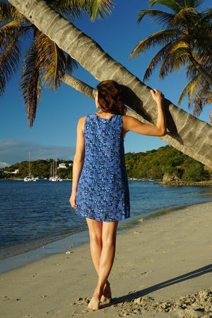 Womens silk Henny dress Flamboyant Flower Blue by Lotty B Mustique lifestyle
