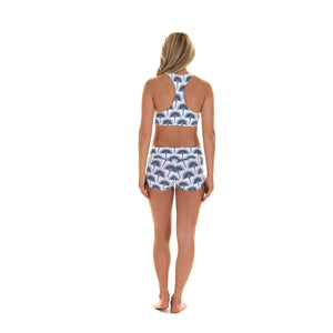 Sports Shorts back worn with matching cropped top : FAN PALM NAVY designed by Lotty B for Pink House Mustique