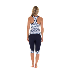 Contour panel cropped leggings back : FAN PALM NAVY worn with matching racer sports top Designer Lotty B Mustique