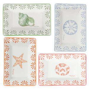 Fine Bone China Tray : SAND DOLLAR - BLUE designer Lotty B Mustique. Mix & match the 2 sizes and coffee mug as a charming wedding gift or build your collection with 1 of each design.