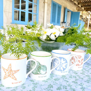 Fine Bone China Mug SET of 4 : SAND DOLLAR, URCHIN, STAR, SHELL designer collection Lotty B Mustique interiors. Set the table Mustique style