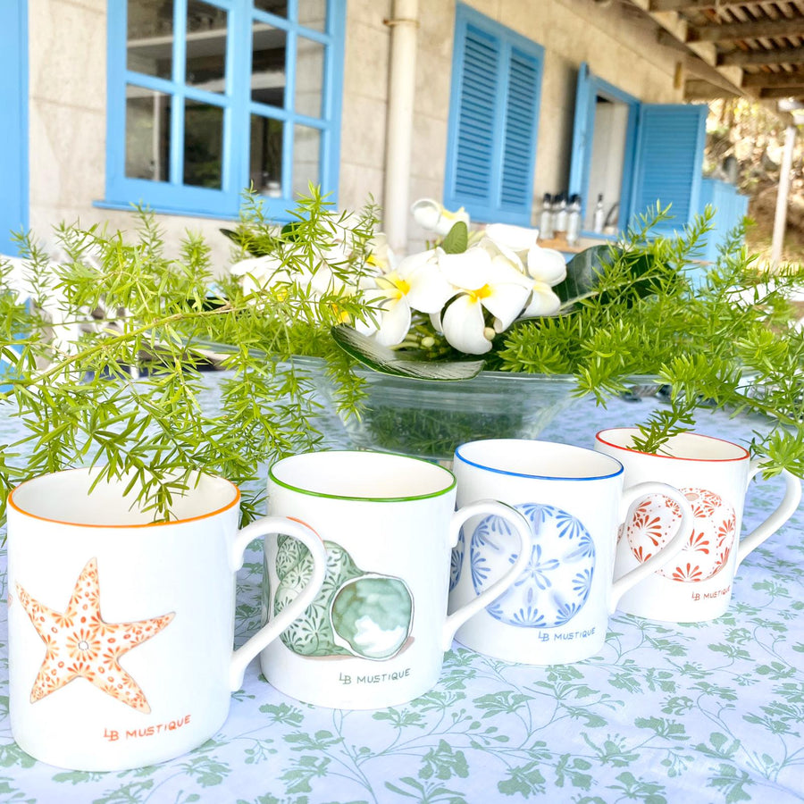 Fine Bone China Mug SET of 4 : SAND DOLLAR, URCHIN, STAR, SHELL designer collection Lotty B Mustique interiors