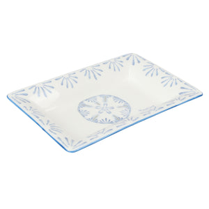 Fine Bone China Tray : SAND DOLLAR - BLUE designer Lotty B Mustique. Perfect for serving olives, nuts and little delicacies with drinks or elegant on a vanity table, hall or ottoman.