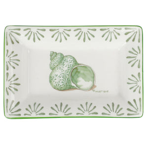 Fine Bone China Tray : SHELL - GREEN