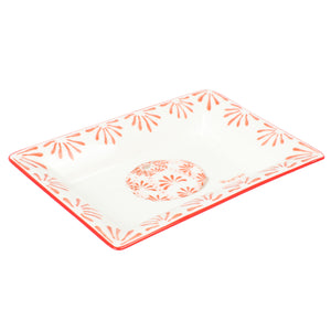 Fine Bone China Tray : URCHIN - RED designer Lotty B Mustique. Delicate sea urchin shells are often washed up on the island shores of Mustique.