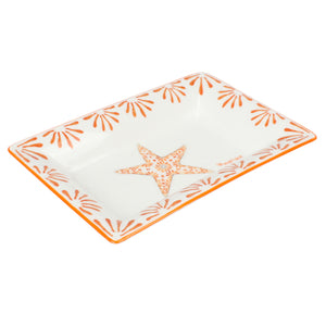 Fine Bone China Tray : SEASTAR - ORANGE designer Lotty B Mustique. This pretty design of a sea star inspired by the starfish that live all through the waters of St. Vincent and the Grenadines will bring the warmth and fun of the Caribbean to your table!