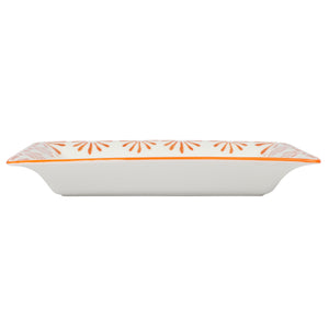 Fine Bone China Tray : SEASTAR - ORANGE designer Lotty B Mustique. These delightful pieces keep your jewellery, trinkets or loose change in style.
