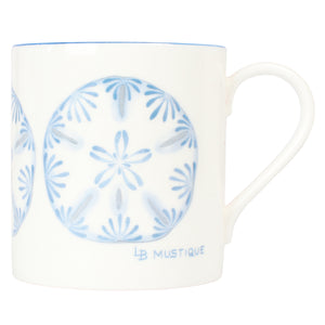 Fine Bone China Mug : SAND DOLLAR - BLUE designer Lotty B Mustique interiors