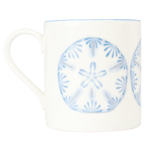 Fine Bone China Mug : SAND DOLLAR - BLUE designer Lotty B Mustique beautiful gifts & interiors inspired by the Caribbean island of Mustique