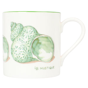 Fine Bone China Mug : SHELL - GREEN designer Lotty B Mustique interiors