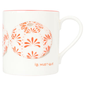 Fine Bone China Mug : SEA URCHIN - RED designer Lotty B Mustique interiors