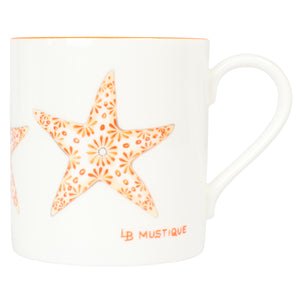 Fine Bone China Mug : SEA STAR - ORANGE designer Lotty B Mustique interiors