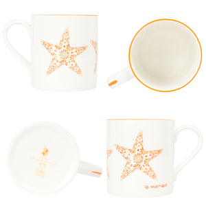 Fine Bone China Mug SET of 4 : SAND DOLLAR, URCHIN, STAR, SHELL designer collection Lotty B Mustique exclusive gifts & interiors