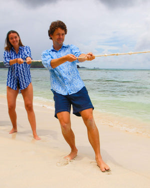 Mens Linen Shirt : BANANA TREE - BLUE designer Caribbean Vacation wear, Mustique beach life