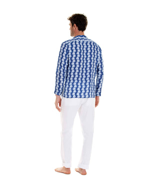 Mens Collarless Linen Shirt : FISH - AIRFORCE BLUE designer beach styles by Lotty B Mustique