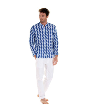 Mens Collarless Linen Shirt : FISH - AIRFORCE BLUE designer holiday styles by Lotty B Mustique