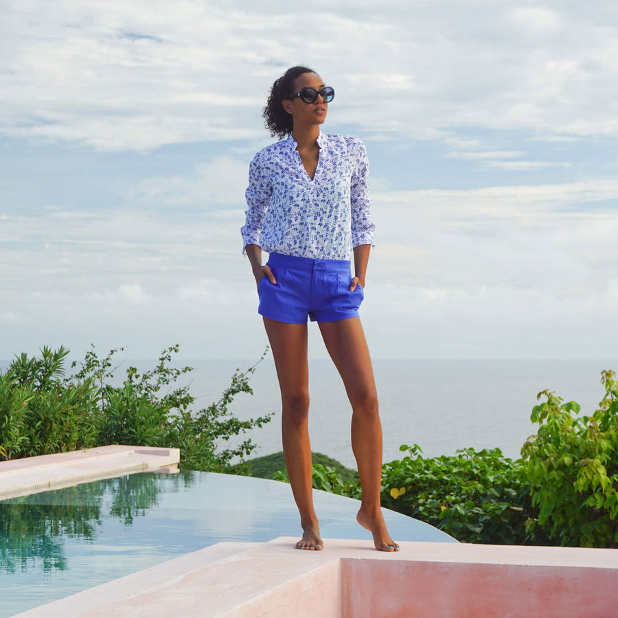 Womens Linen Shorts : DAZZLING BLUE designer Lotty B for Pink House Mustique exclusive resortwear