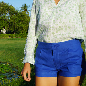 Womens Linen Shorts : DAZZLING BLUE designer Lotty B Womens holiday fashion
