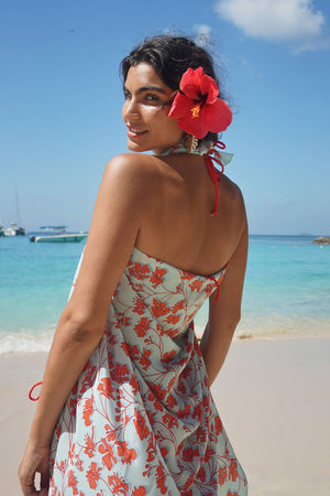 Lotty B Sarong in Silk Crepe-de-Chine: FLAMBOYANT FLOWER - ORANGE designer Lotty B Mustique vacation lifestyle