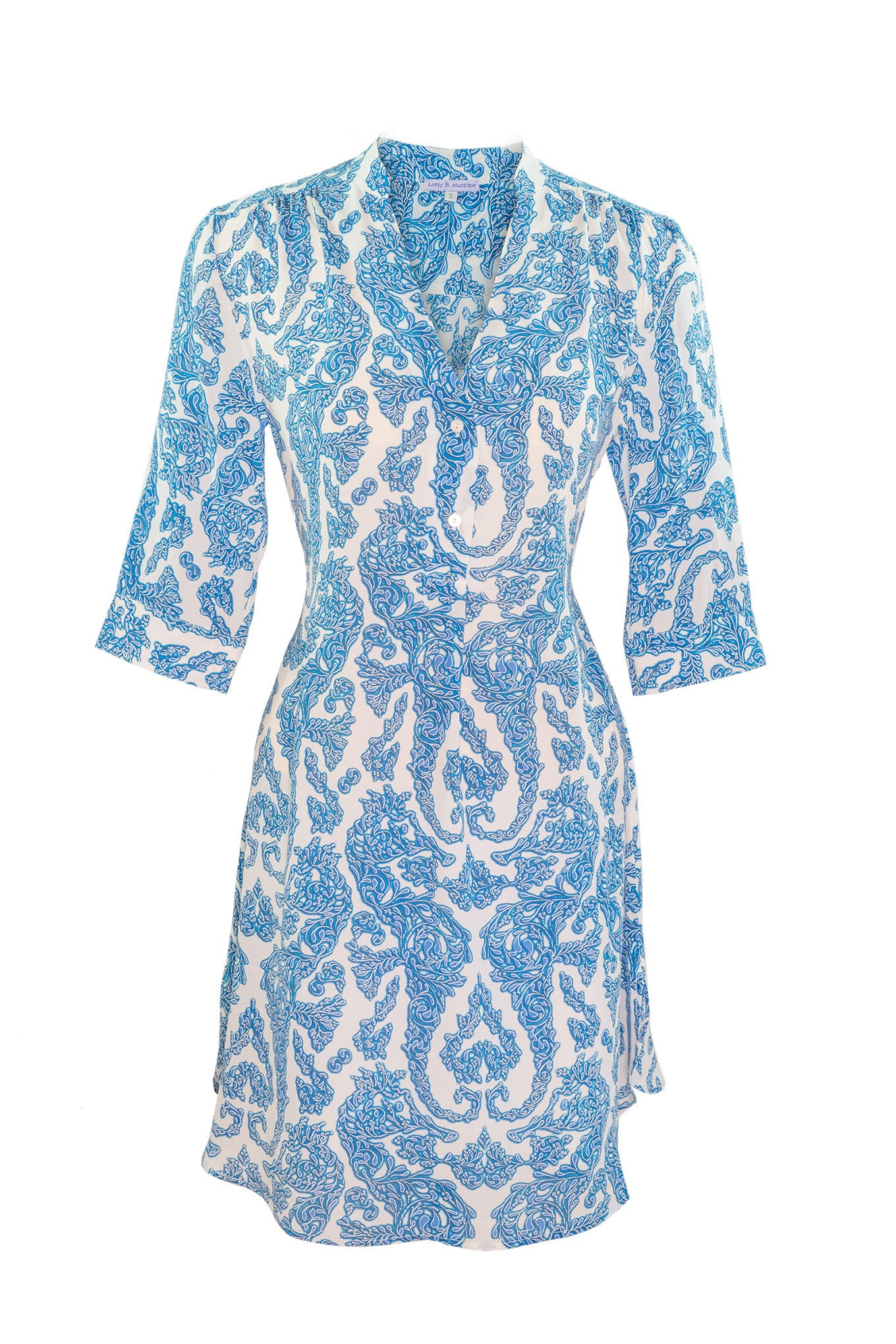 Lotty B Flared Dress in Silk Crepe-de-Chine (Seahorse, Blue)