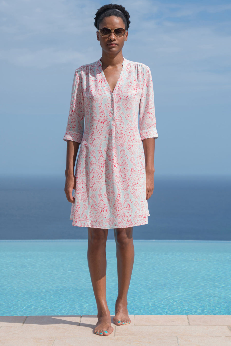 Lotty B Flared Dress in Silk Crepe-de-Chine (Seahorse, Pink) Life