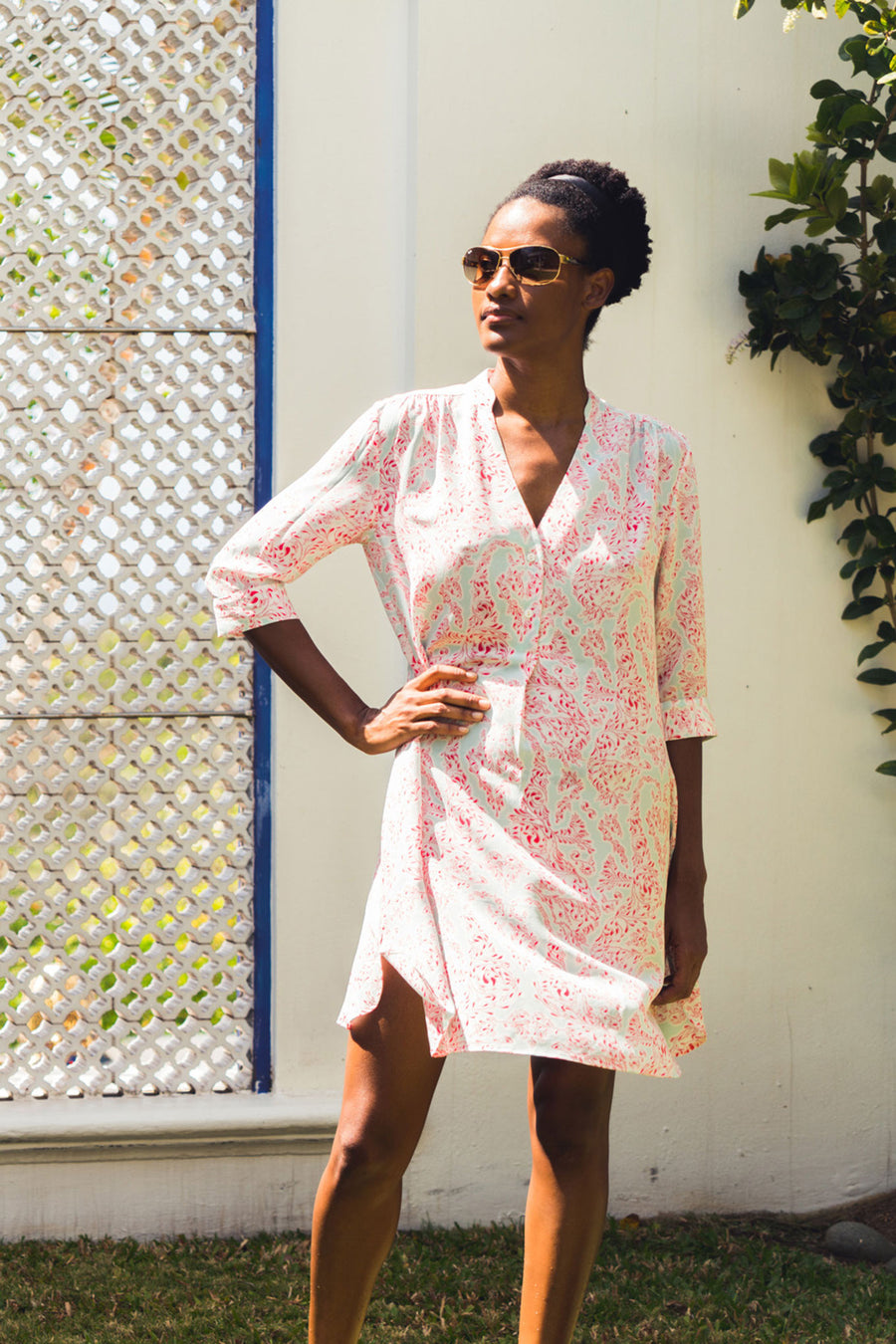Flared Silk Dress, Crepe-de-Chine : SEAHORSE - PINK designer Lotty B Mustique luxury Resort wear & summer style