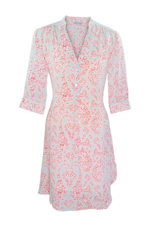 Lotty B Flared Dress in Silk Crepe-de-Chine (Seahorse, Pink)