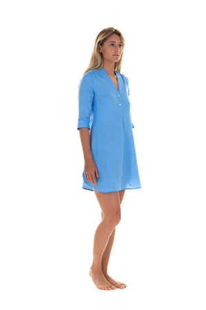 Womens Linen Flared Dress: FRENCH BLUE designer Lotty B Mustique
