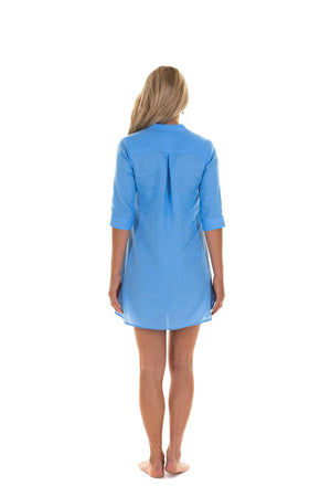 Womens Linen Flared Dress: FRENCH BLUE tailored back designer Lotty B Mustique