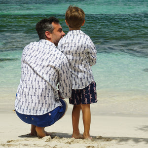 Boys swim trunks: GECKO - NAVY, Pink House Mustique dads & sons mini me summer styles designer Lotty B