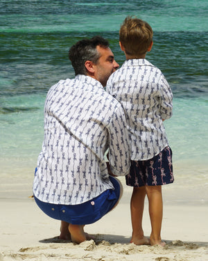 Mens Linen Shirt: GECKO - NAVY designer Lotty B Mustique matchy matchy holiday clothing for Men & Boys