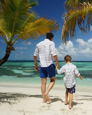 Mens Linen Shirt: GECKO - NAVY designer Lotty B Mustique family holiday styles