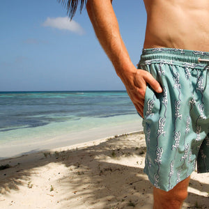 Mens swim trunks: GECKO - OLIVE, Pink House Mustique swimwear designer Lotty B