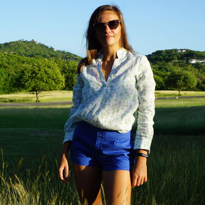 Womens Linen Shorts : DAZZLING BLUE designer Lotty B Womens holiday styles